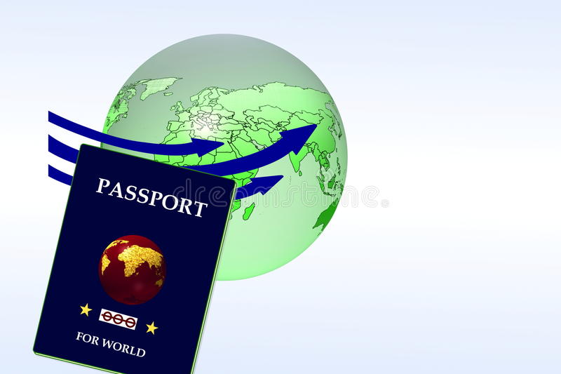 Passport with globe in the earth globe background vector illustration
