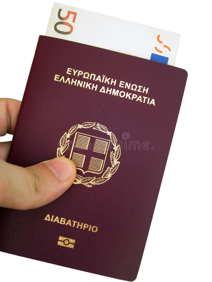 Passport of Greece. And european currency 50 Euro royalty free stock image