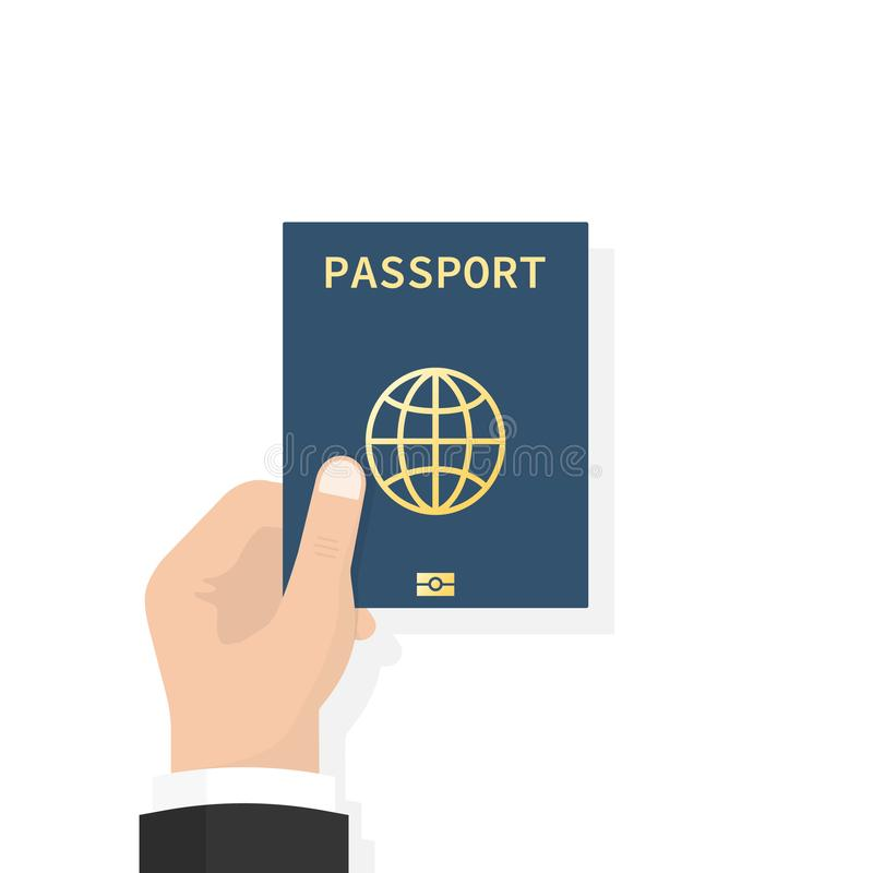 Passport in hand. Man holds in his hand the document. Personal identification. Passport for travel and business travels stock illustration