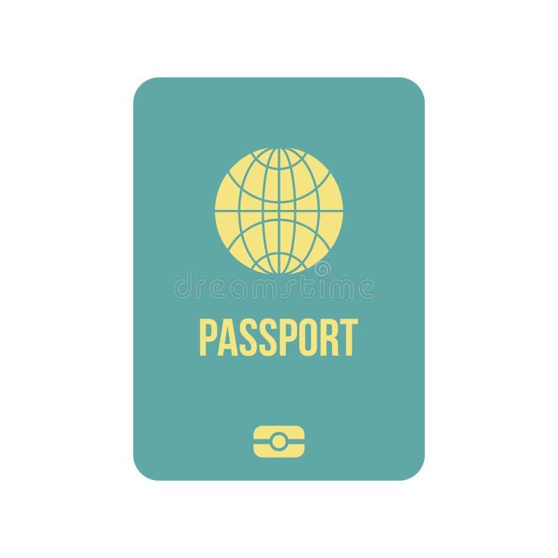 Passport icon flat stock illustration