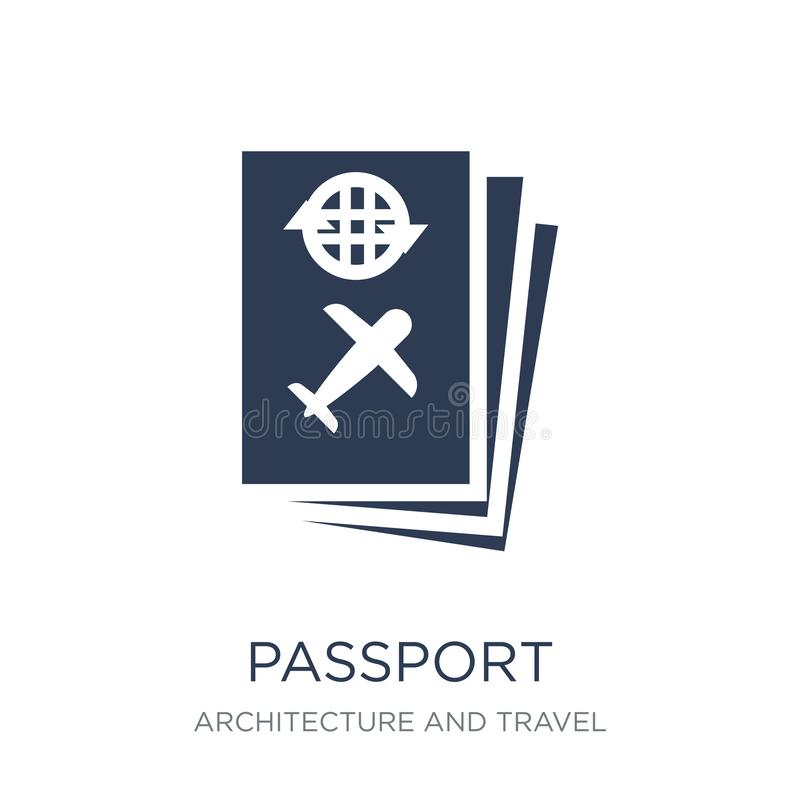 Passport icon. Trendy flat vector Passport icon on white background from Architecture and Travel collection vector illustration