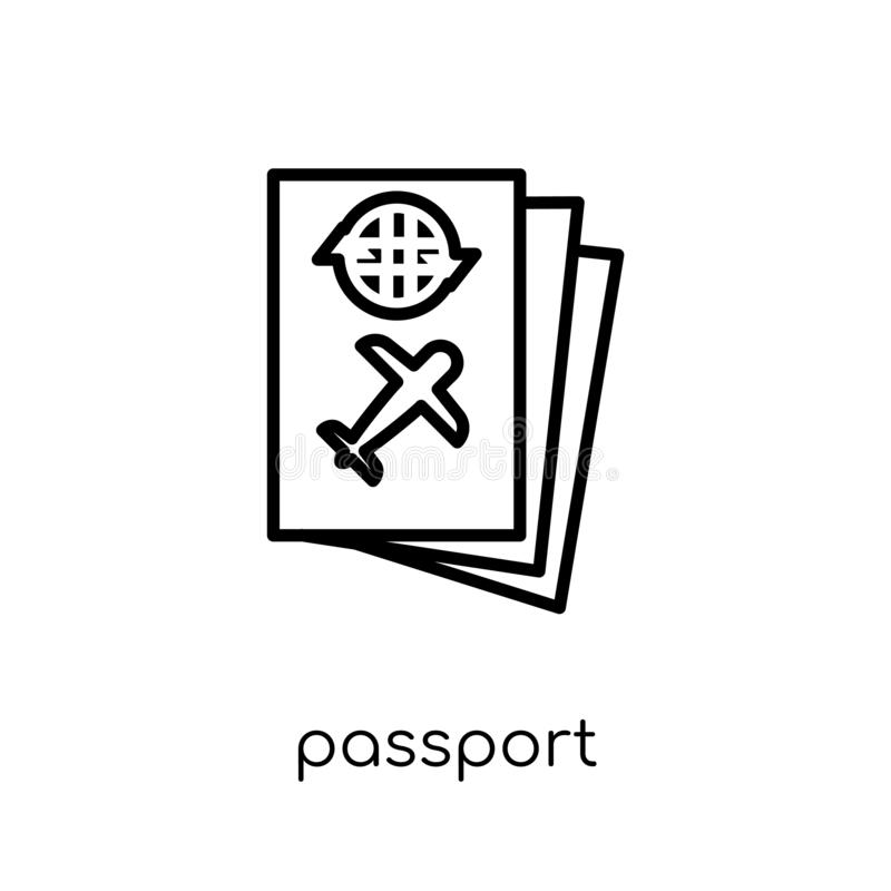 Passport icon. Trendy modern flat linear vector Passport icon on royalty free illustration