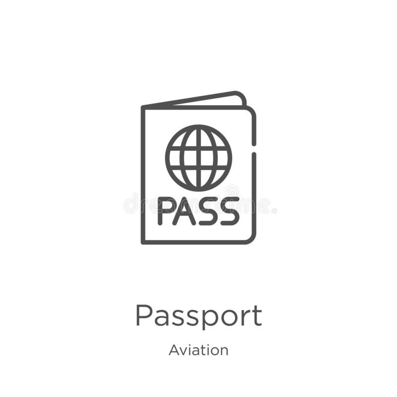 Passport icon vector from aviation collection. Thin line passport outline icon vector illustration. Outline, thin line passport. Passport icon. Element of royalty free illustration