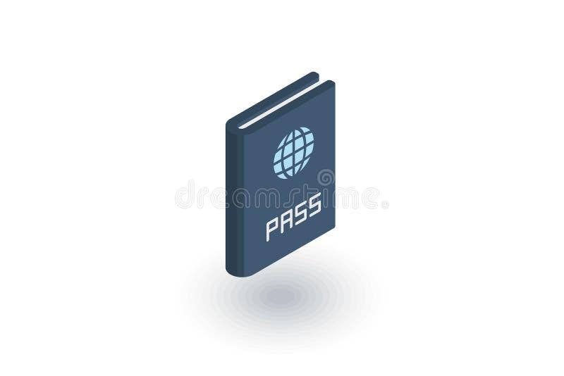 Passport, id document isometric flat icon. 3d vector royalty free illustration