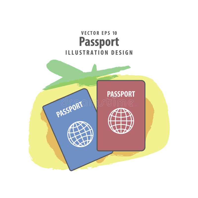 Passport illustration vector background. Travel concept. royalty free illustration