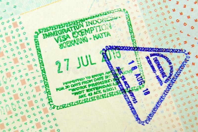 Passport vis stamps Indonesia royalty free stock image