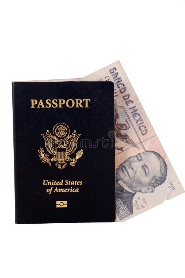 Passport with Mexican Money royalty free stock image