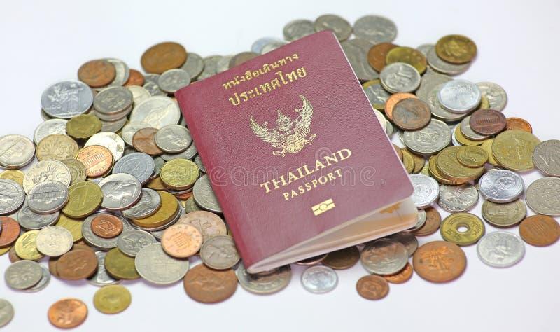 Passport and money. Thailand passport and money savings stock photo