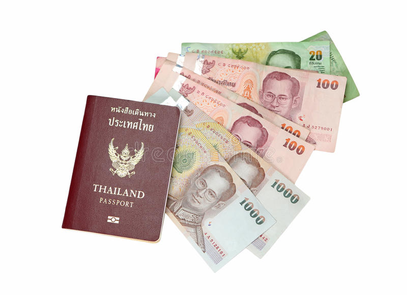 Passport and money. Thailand passport and money savings royalty free stock photos