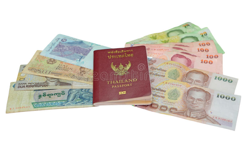 Passport and money. Thailand passport and money savings stock photography