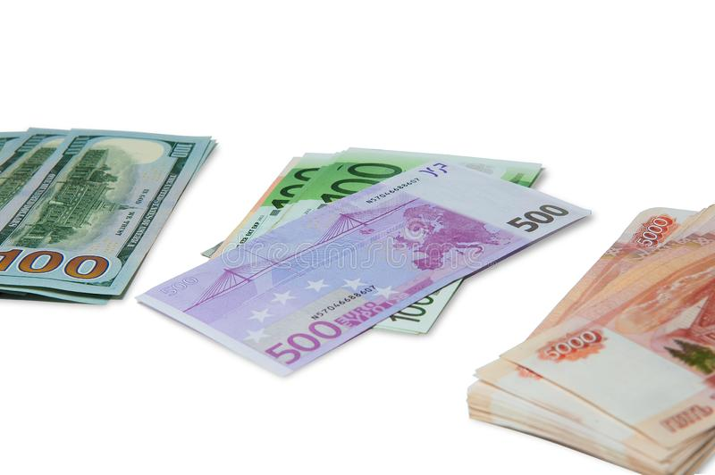 Passport and money. Travel expenses concept uncropped on white background. stock photo