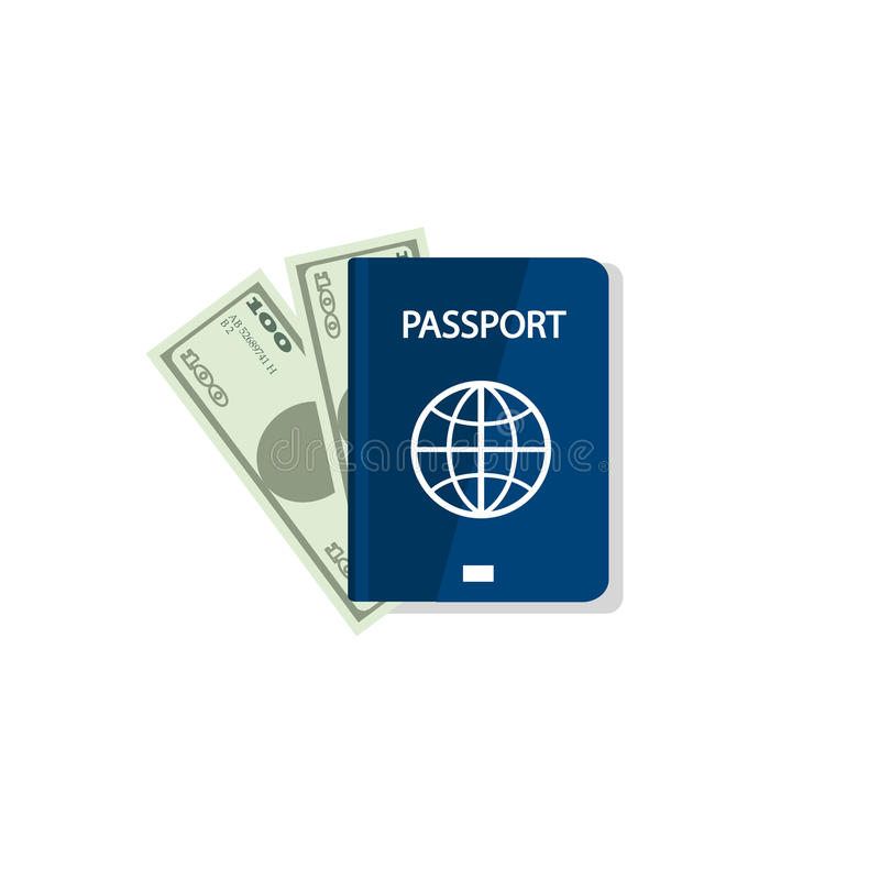 Passport and money. Vector illustration. Blank blue passport background on white background. Concept travel and tourism. Internati vector illustration