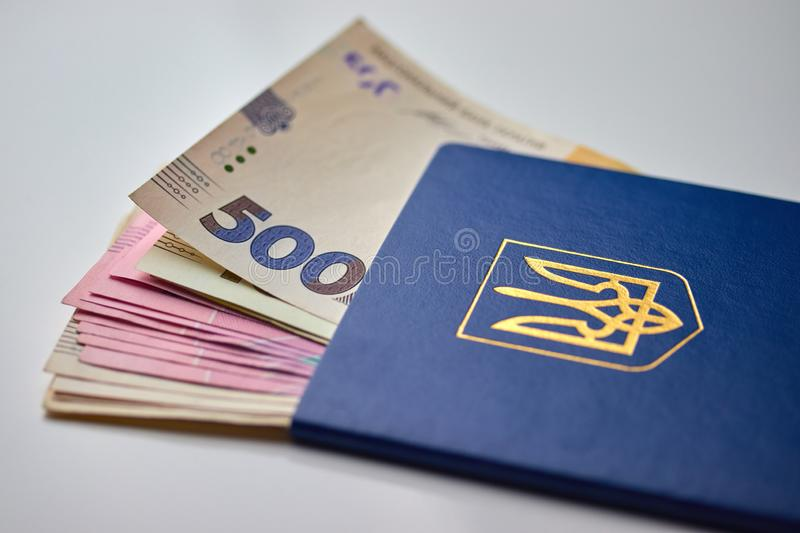 Passport with national currency paper money close up view of cash. On white background vacation election currency exchange voting election finance financial stock images
