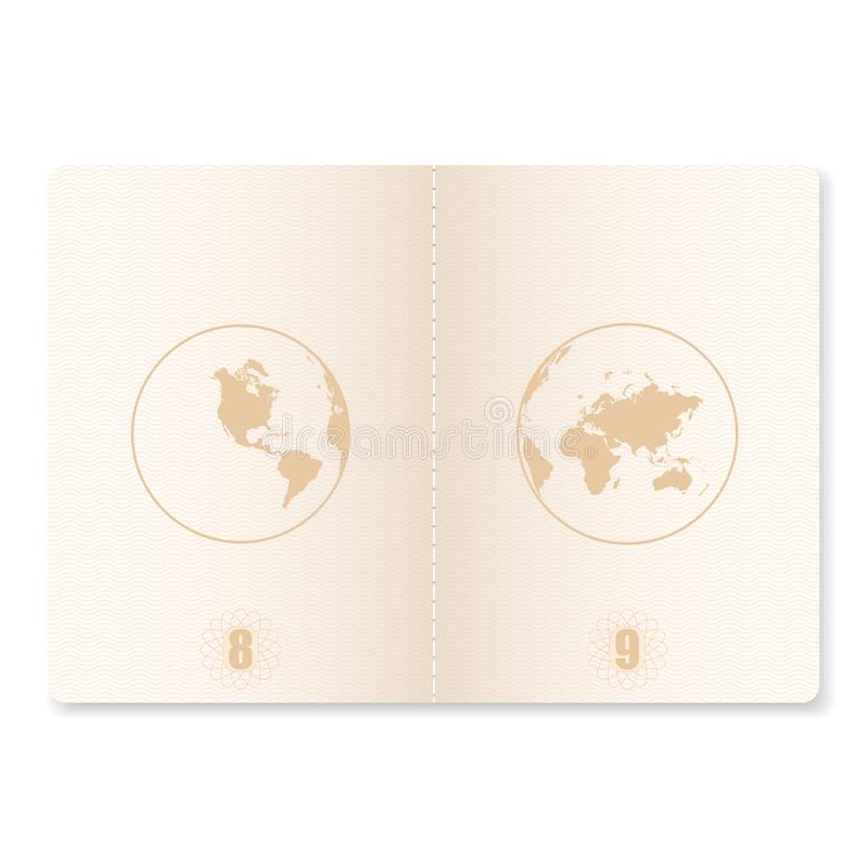 Passport pages for stamps. Open blank passport with watermark. Vector. stock illustration