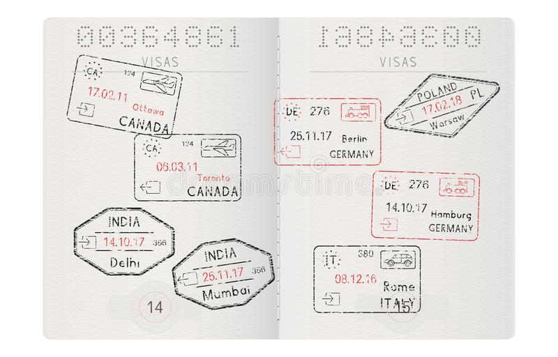 Passport pages with travel stamps. International tourism. Vector illustration royalty free illustration