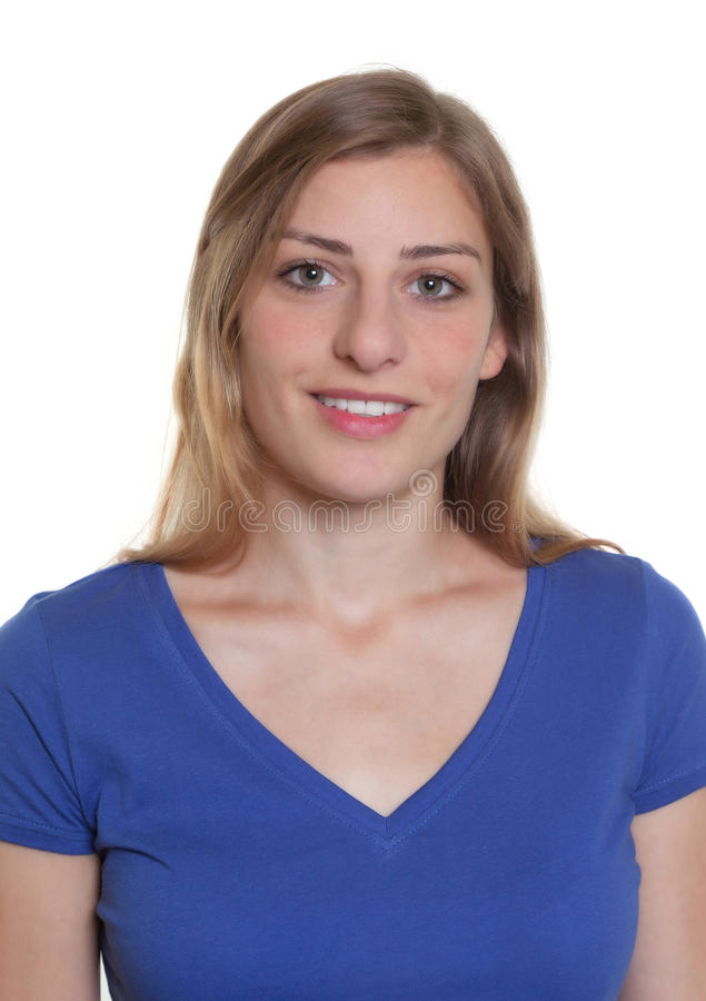 Passport photo of a german woman in a blue shirt. On an isolated white background for cut out stock images