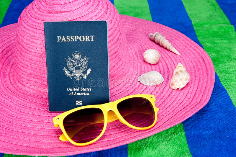 Passport on pink hat royalty free stock photos