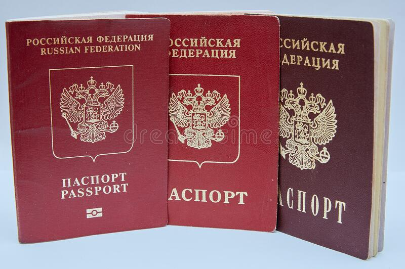 Passports of the Russian Federation. Foreign biometric passport, foreign passport and domestic passport of Russian Federation. Russian passport royalty free stock images