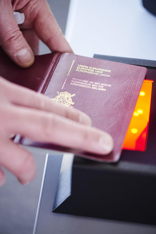 Passport security scanner stock photography
