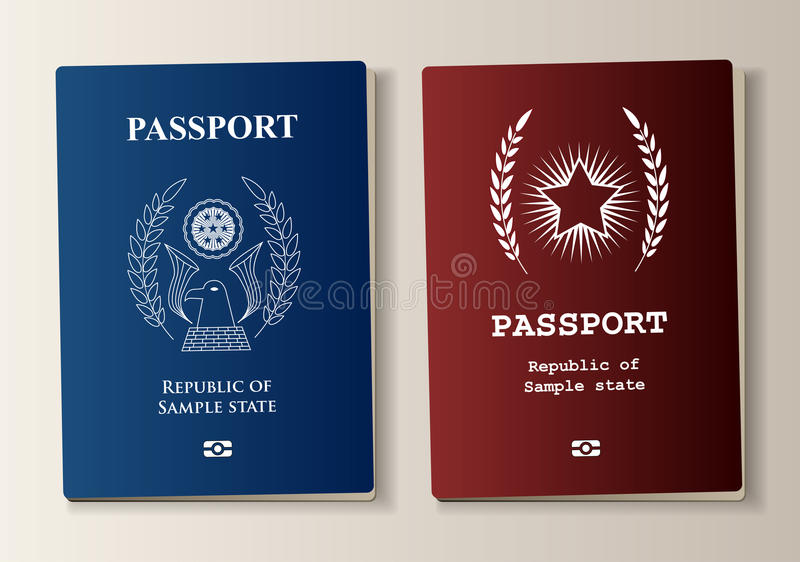 Passport set. In two colors with sample elements stock illustration