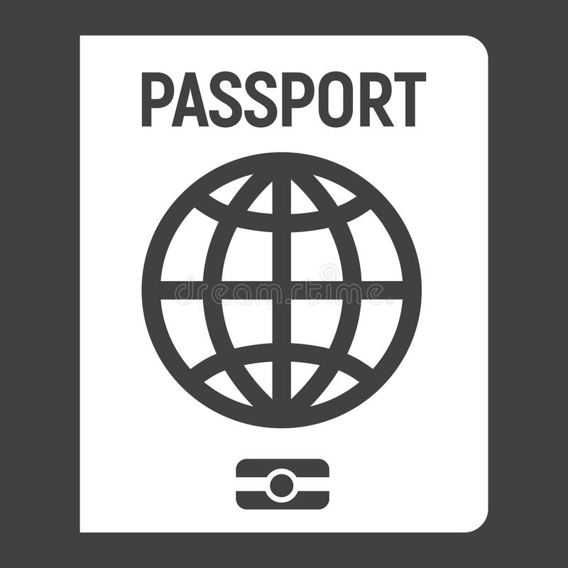 Passport solid icon, travel and citizenship royalty free illustration