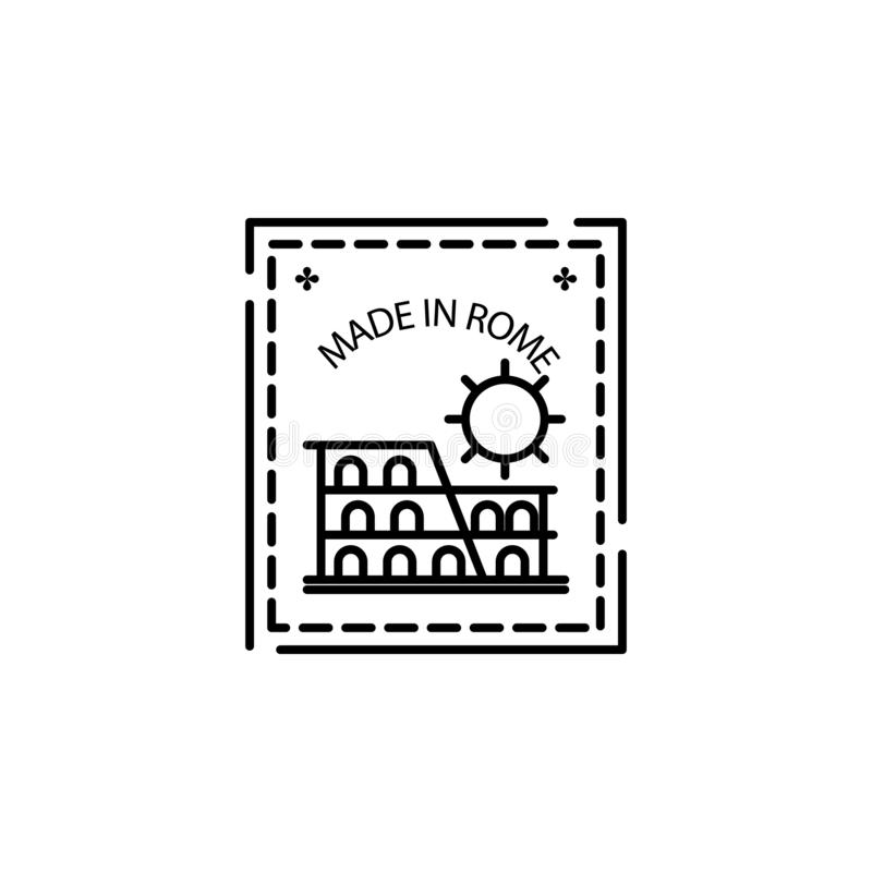 Passport stamp, visa, Rome, made in Rome icon. Element of passport stamp for mobile concept and web apps icon. Thin line icon for. Website design and royalty free illustration
