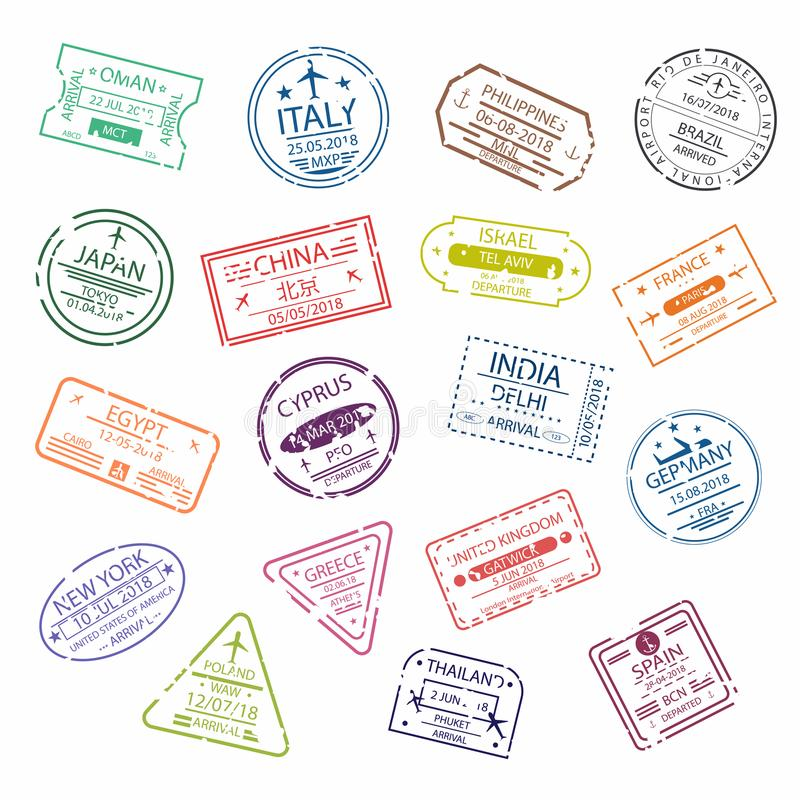 Passport stamp or visa signs for entry to the different countries. International Airport symbols. Vector stock illustration