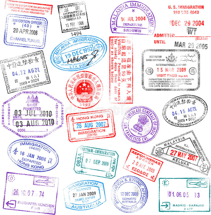 Passport Stamps. A collection of highly detailed passport stamps, all inspired from real passport stamps, but completely created using Illustrator CS3 stock illustration