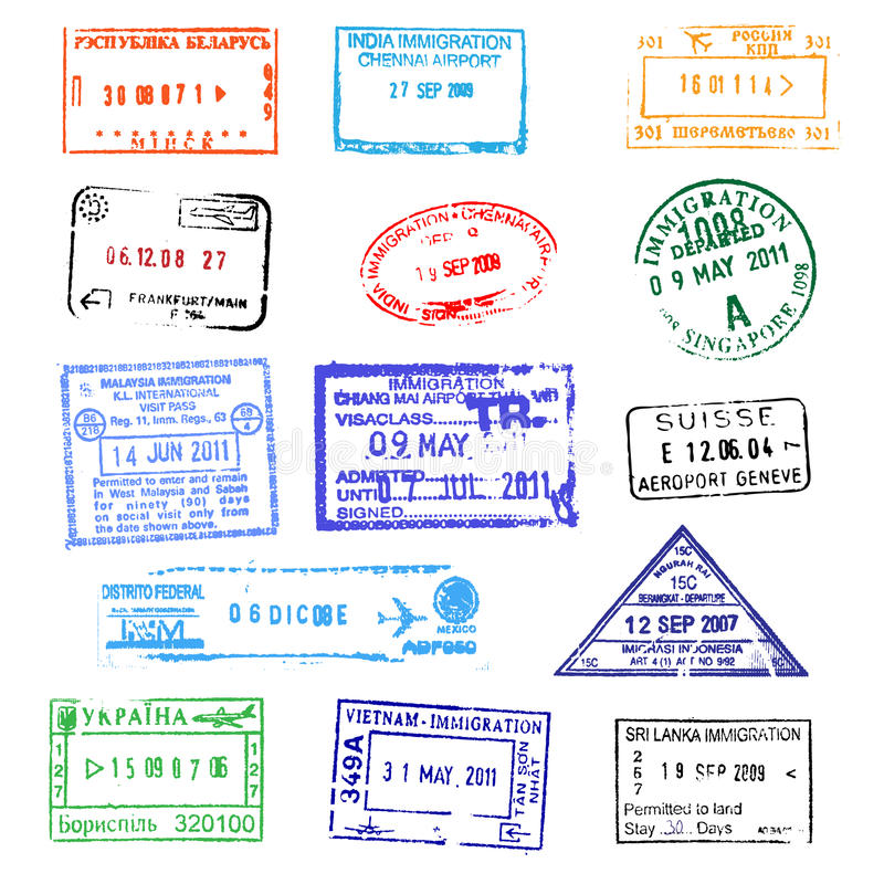 Passport stamps. On white background