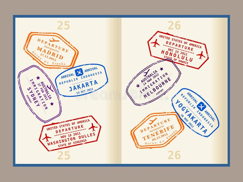 Passport stamps stock illustration