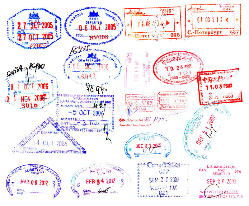 Passport stamps. From around the world on white