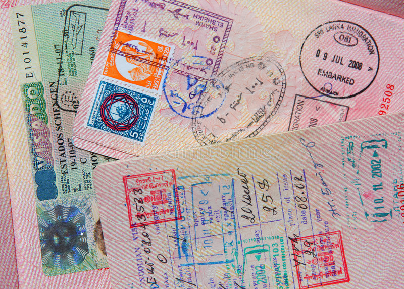 Passport stamps royalty free stock photos