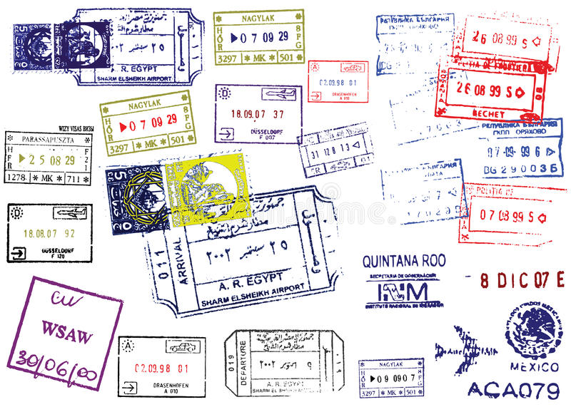 Download Passport Stamps stock vector. Image of collection, europe - 9887812