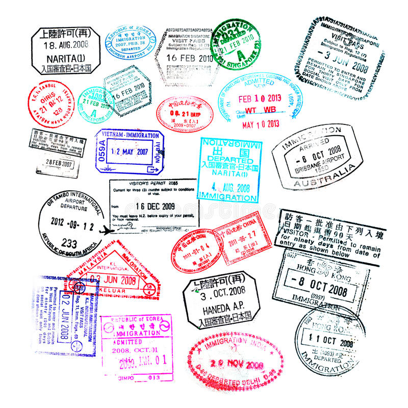 Passport stamps isolated on white. Background vector illustration