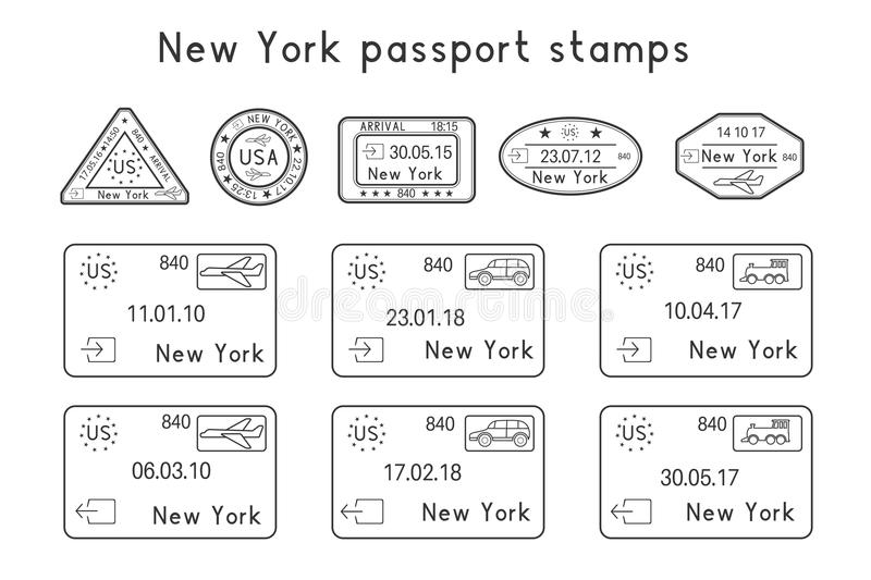 Passport stamps. New York, USA. Arrival and departure by car, train, plane. Set of black and white stamps vector illustration