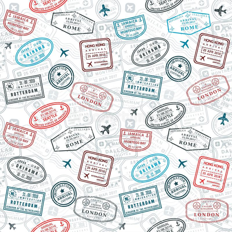 Passport stamps texture royalty free illustration
