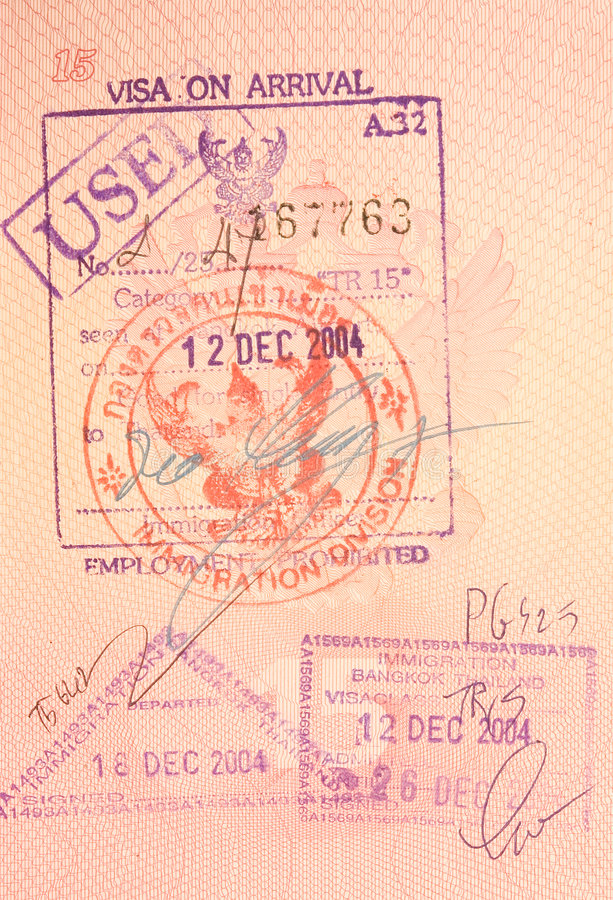 Passport stamps - visa on arrival to thailand stock images