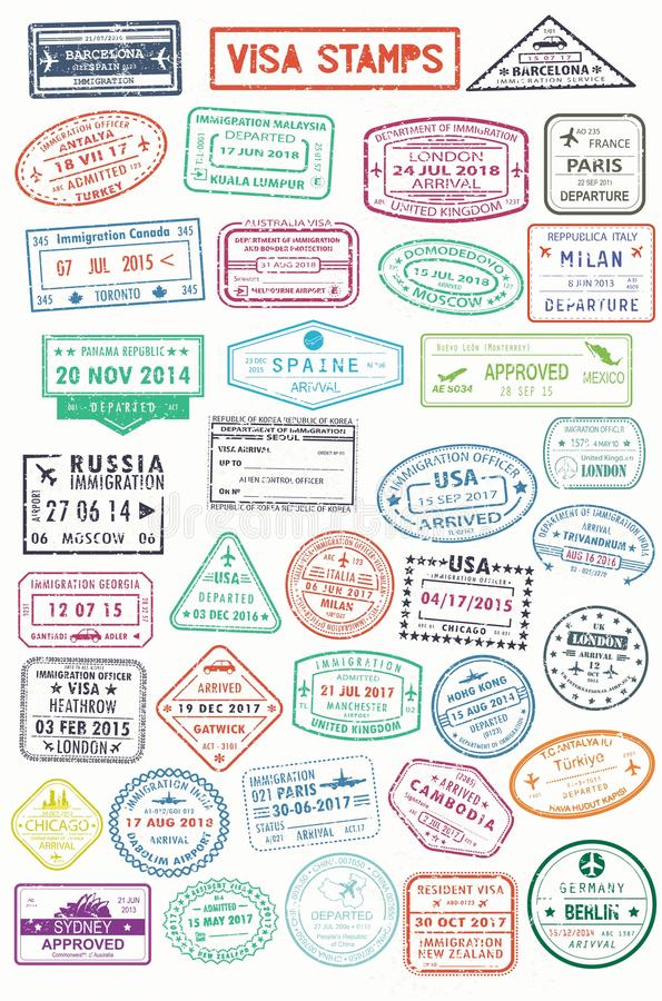 Visa Stamps Or Passport Signs Of Immigration Stock Vector