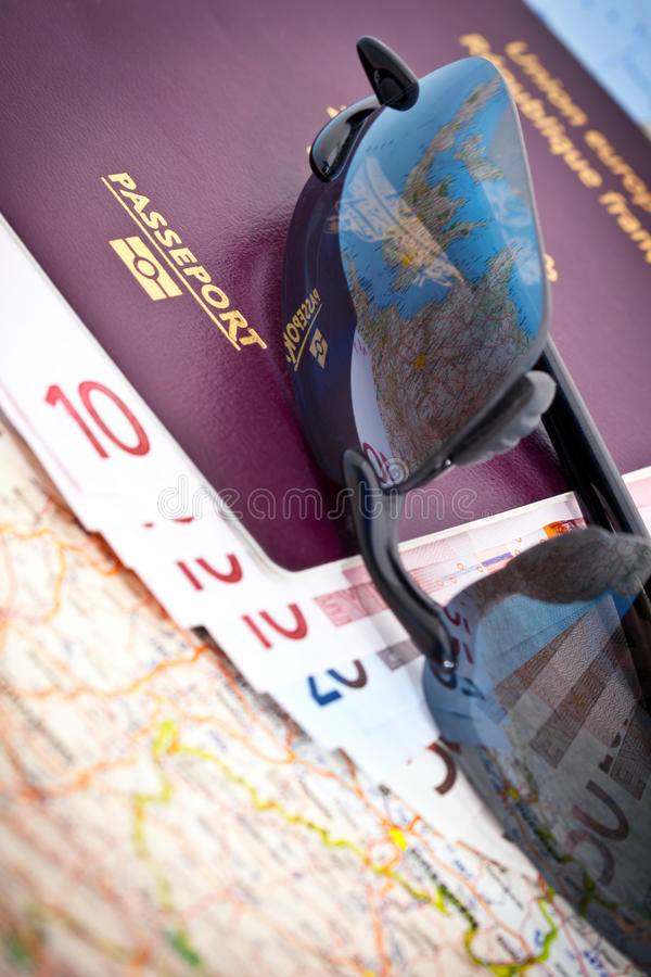 Download Passport Sunglasses Euros Map Stock Photo - Image of paper, eyewear: 21071822