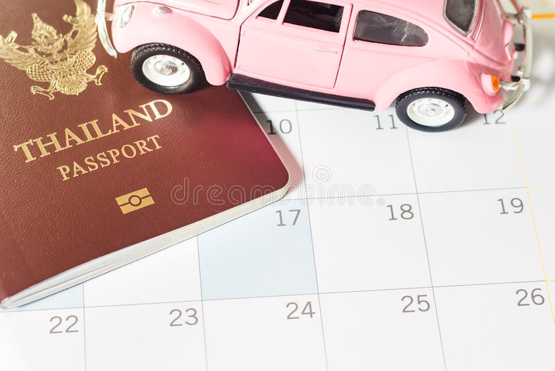 Passport (of Thailand). And small vehicles put on the calendar to show the concepts. The trip is planned and is always available, Vintage tone stock photography