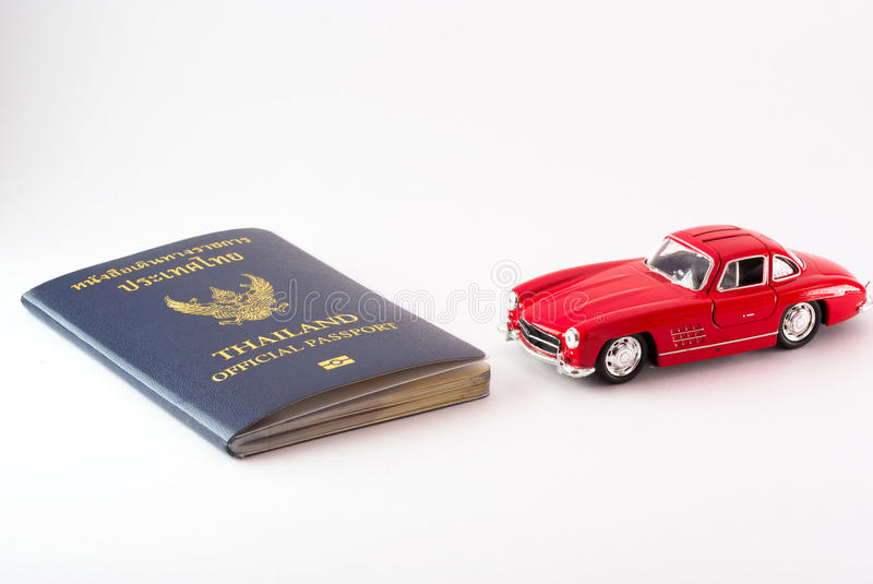 Passport Thailand travel with car model. An Passport Thailand travel with car model stock image