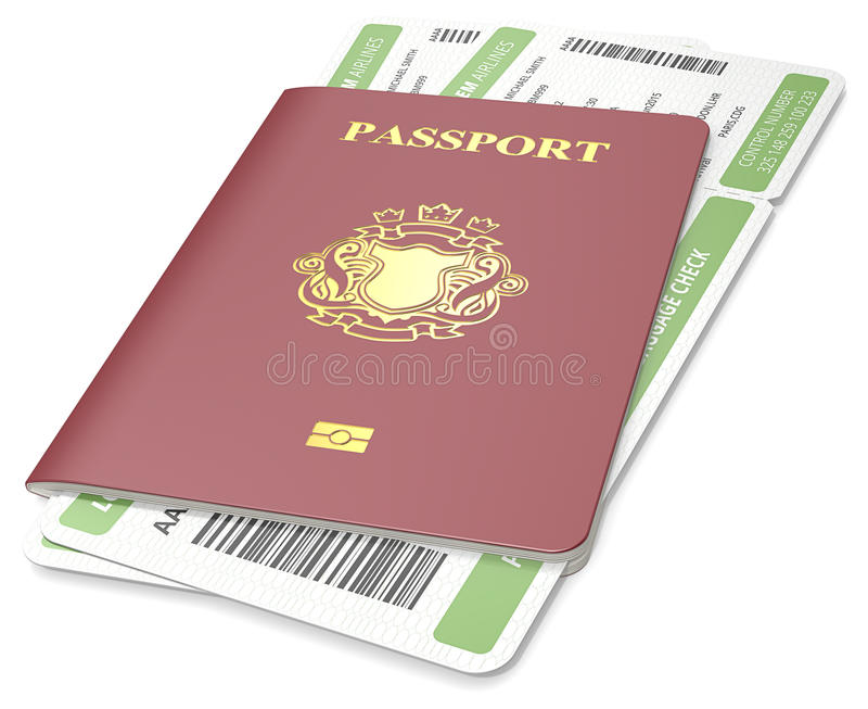 Passport and ticket. Dark red Passport and green Boarding Pass. Non-Country golden Blazon royalty free illustration
