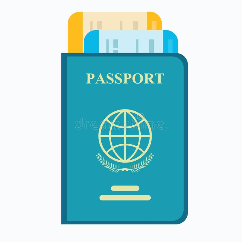 Passport with tickets. Air travel concept. vector illustration