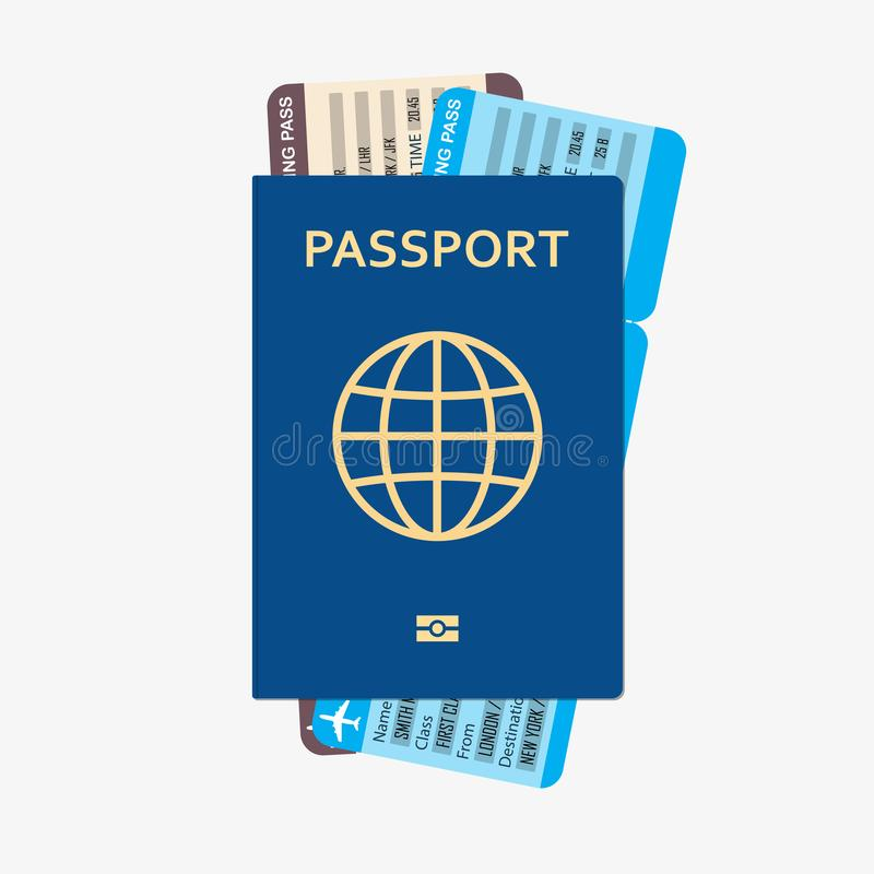 Passport with tickets flat icon. Documents for travel. Vector illustration. stock illustration