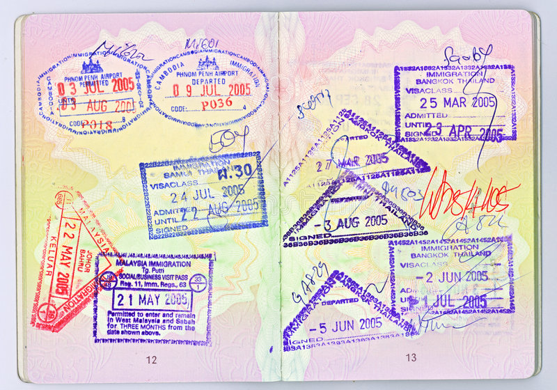 Passport to Asia. A high-res scan of two pages of a British passport with visas for different Asian countries