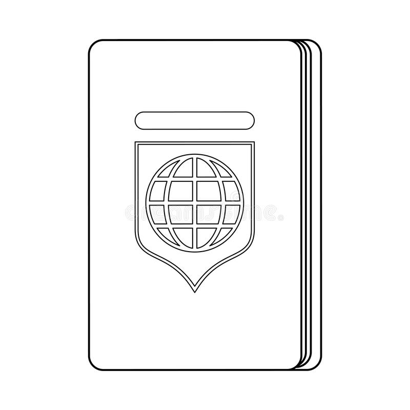 Passport travel document isolated symbol in black and white stock illustration