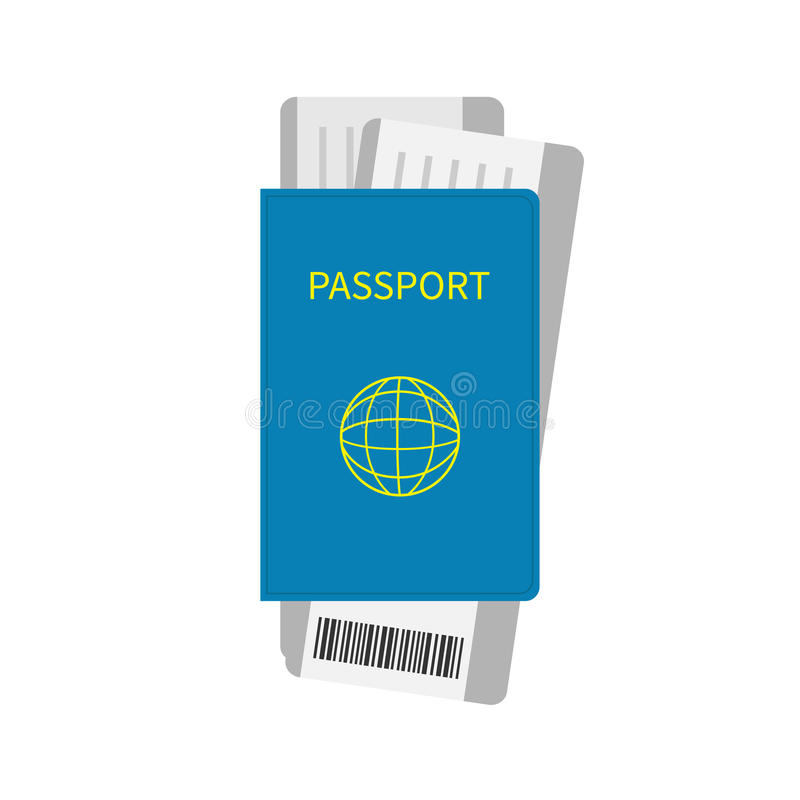 Passport and two air boarding pass ticket icon with barcode. Isolated. White background. Travel and Vacation consept. Flat design royalty free illustration