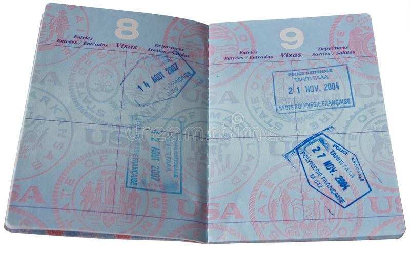 Passport with VISA Stamps. To Tahiti stock photo