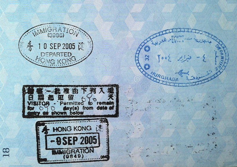 Passport Visa Stamps Stock Photos