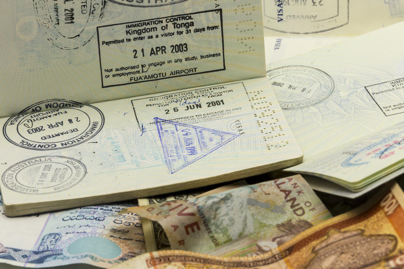 Download Passport Visas And Currency Stock Image - Image: 32282743